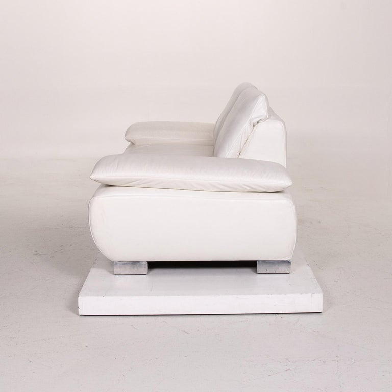 Koinor Volare Leather Sofa White Two-Seat Function Couch 8