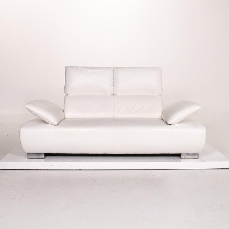 Modern Koinor Volare Leather Sofa White Two-Seat Function Couch