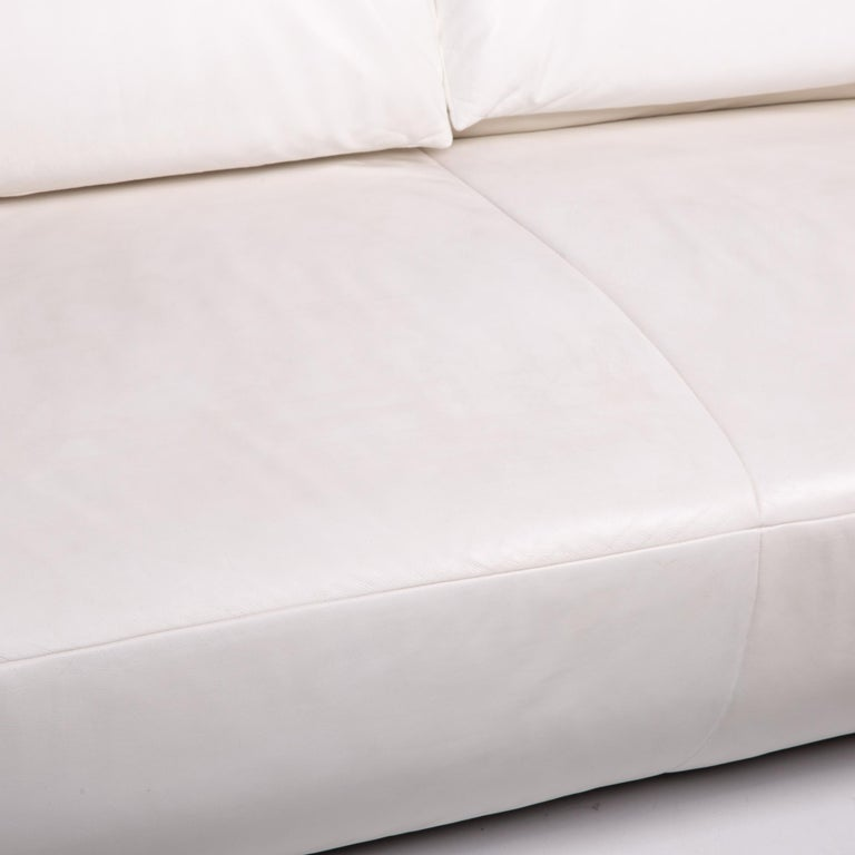 German Koinor Volare Leather Sofa White Two-Seat Function Couch