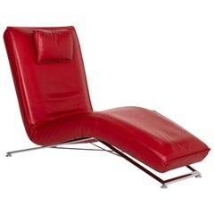 KoinorJeremiah Leather Lounger Red Relaxation Function Relaxation Lounger