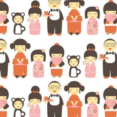 Kokeshi Designer Wallpaper in Hummingbird 'Orange, Pink and Dark Brown on White'