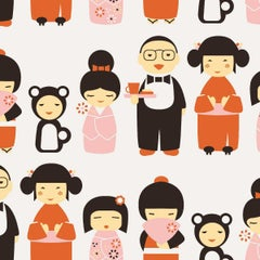 Kokeshi Designer Wallpaper in Hummingbird 'Orange, Pink and Dark Brown on White'