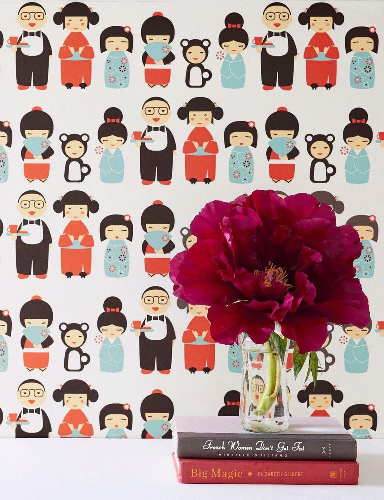 Kokeshi Designer Wallpaper in Ladybug 'Red, Blue and Black on Soft White' In New Condition For Sale In Brooklyn, NY