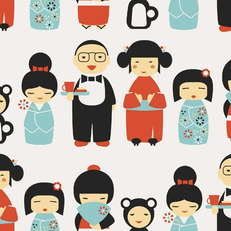 This adorable kokeshi Japanese doll pattern is the perfect wallpaper for your child's room!   Printing: Screen-printed by hand (must be ordered in even increments). Material: FSC-certified paper.  Trimming: This product may come pre-trimmed or