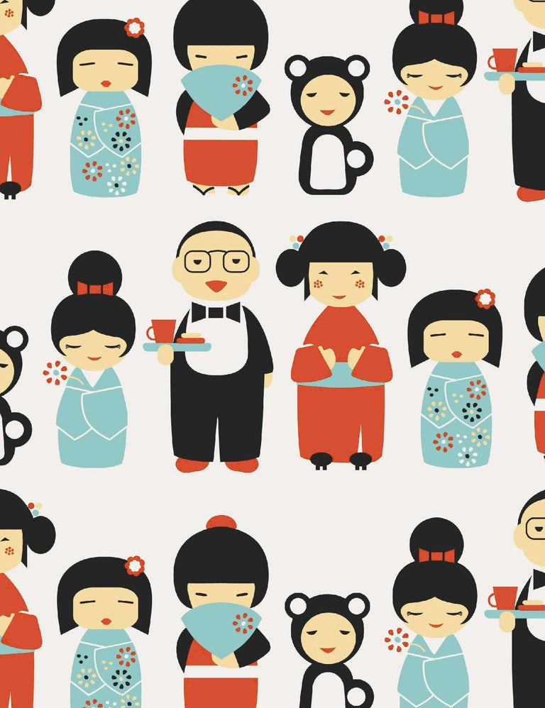 Contemporary Kokeshi Designer Wallpaper in Ladybug 'Red, Blue and Black on Soft White' For Sale