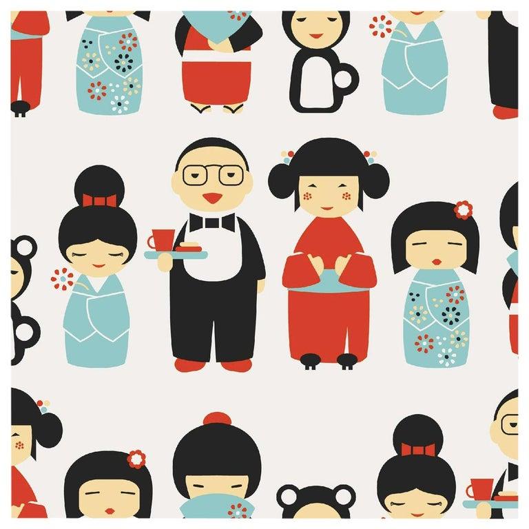 Kokeshi Designer Wallpaper in Ladybug 'Red, Blue and Black on Soft White' For Sale