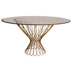 Koket Allure Dining Table in Tempered Bronze Glass Top