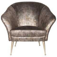 Koket Chiclet Chair in Metallic Fabric with Brass Feet