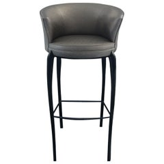 Koket Delice Bar Stool in Pewter Fabric with Matte Black Feet