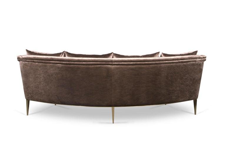 Portuguese Koket Geisha Curved Sofa in Cream Velvet For Sale