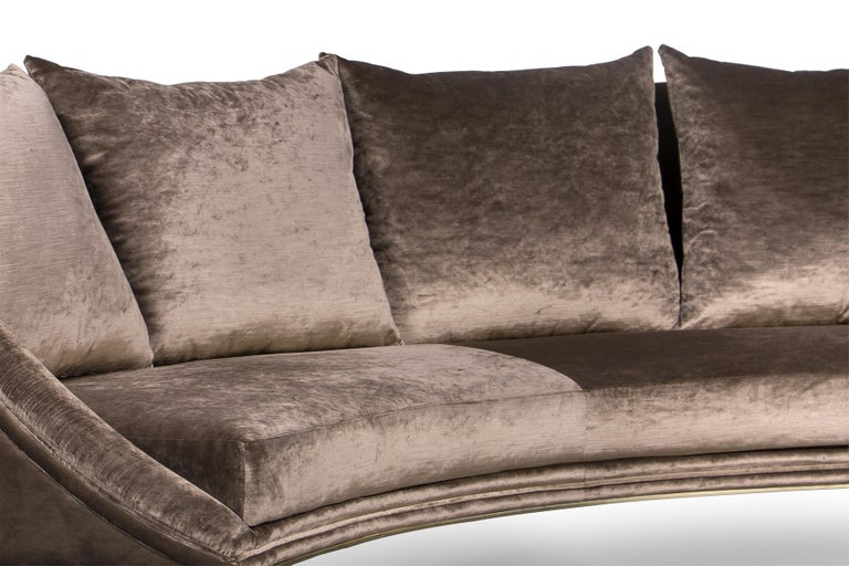 Contemporary Koket Geisha Curved Sofa in Cream Velvet For Sale