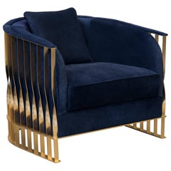 Koket Mandy Chair with Navy Velvet Seat and Brass Frame