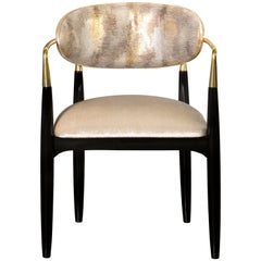Koket Nahéma Chair with Fabric Seat and Glossy Black Base