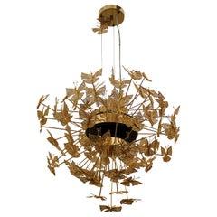 Koket Nymphe Kronleuchter in Vergoldeten Filigrane Schmetterlinge