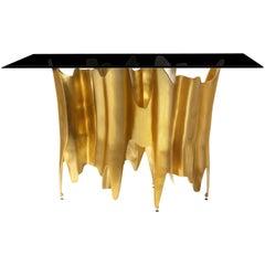 Koket Obssedia Konsolentisch in Rauchglas Ober- und Unterseite in Gold Chrom