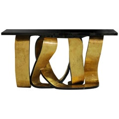Koket Ribbon Console Table in Black Lacquer with High Gloss Finish Top