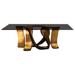 Koket Ribbon Dining Table in Tempered Bronze Glass Top