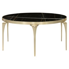 Koket Rita Cocktail Table in Satin Brass Base and Marble Top