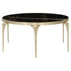 Koket Rita Cocktail Tisch in Satin Messing Basis und Marmorplatte