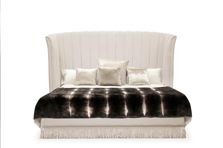 Inspired by wild, passionate nights of the Spanish dance, the Sevilliana bed design embodies the graceful curves and attire of Sevillana dancing girls. Become entranced in the movement of modern lines drawing your eye down to the flirtatious fringe