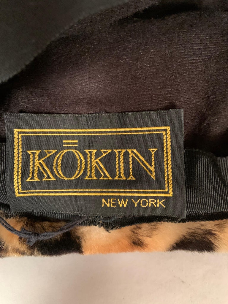 Kokin New York Faux Fur Hat, Spotted Cat Pattern, Never Worn For Sale 1