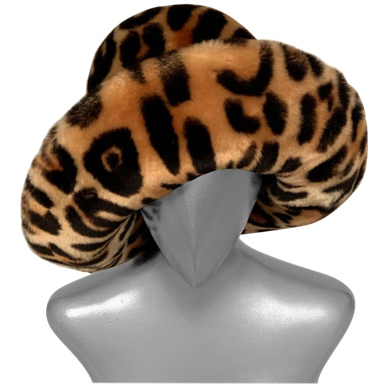 Kokin New York Faux Fur Hat, Spotted Cat Pattern, Never Worn For Sale