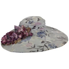 Kokin New York Floral Embellished Devore Velvet Wide Brim Hat 1990s