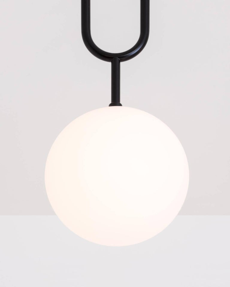 Koko, a Modern Pendant Light with Satin Globe Shade in Matte Black and Wood For Sale 2