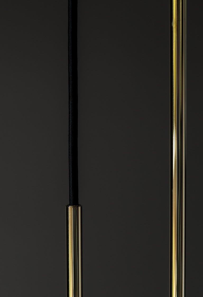 Art Deco Koko Modern Pendant Light with Black Cable, Satin Glass & Polished Brass Finish For Sale