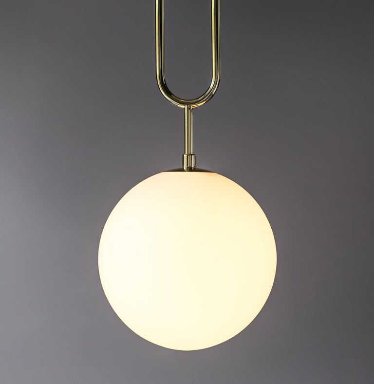 American Koko Modern Pendant Light with Black Cable, Satin Glass & Polished Brass Finish For Sale