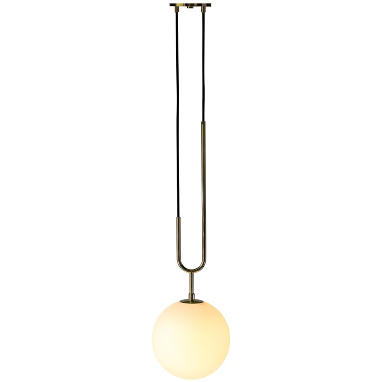 Koko Modern Pendant Light with Black Cable, Satin Glass & Polished Brass Finish For Sale