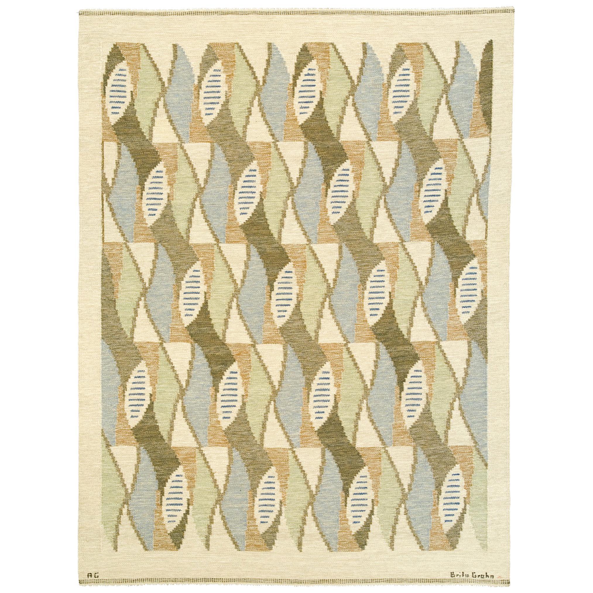 'Kokong' Swedish Flat Weave Rug by AG Brita Grahn