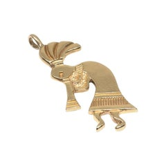 Kokopelli Fertility God 14 Karat Yellow Gold Charm