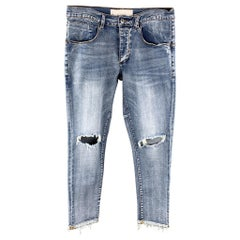 KOLLAR Size 32 Blue Distressed Denim Button Fly Jeans