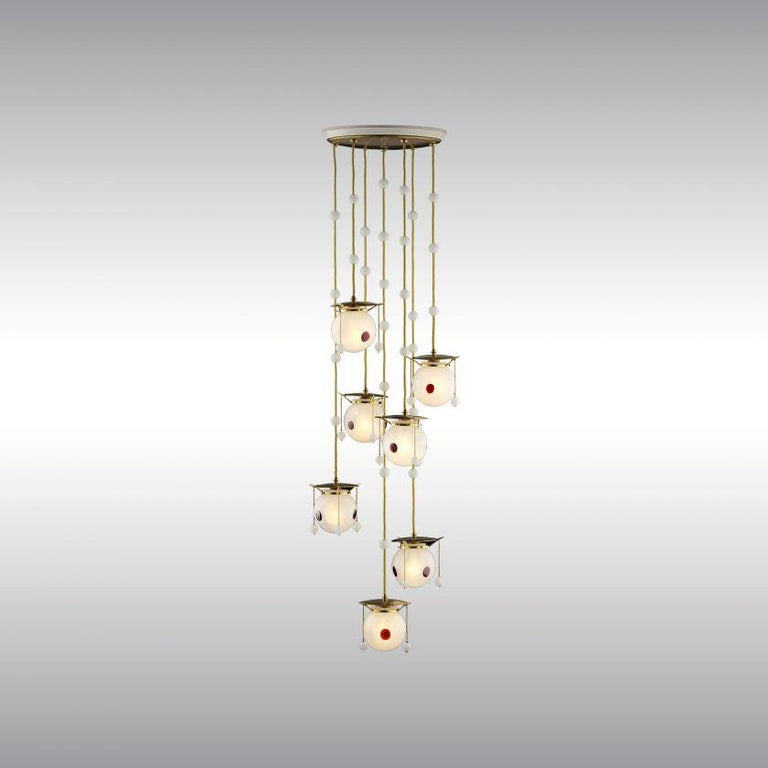 Koloman Moser and Josef Hoffmann Jugendstil Chandelier, Re-Edition In New Condition For Sale In Vienna, AT