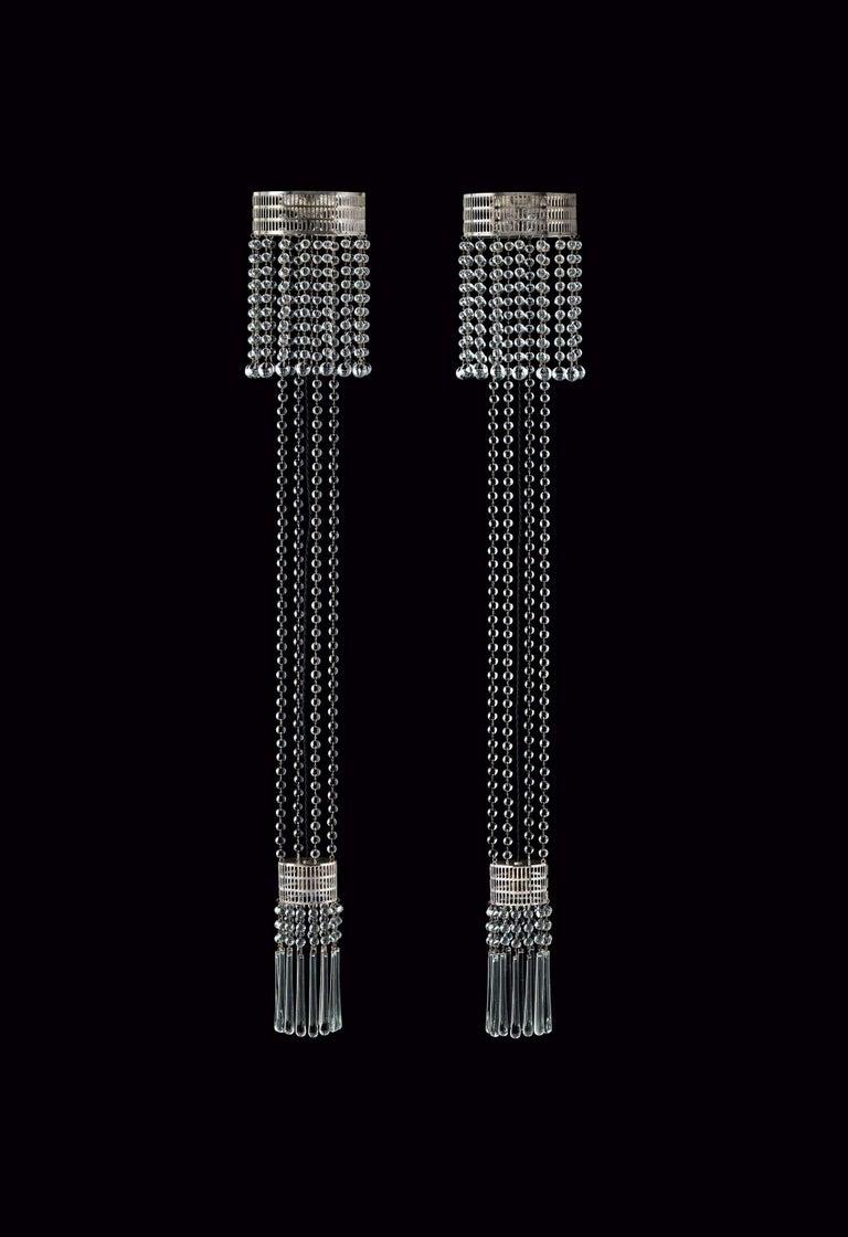 Hand-Crafted Koloman Moser Crystal Glass and Brass Jugendstil Ceiling Lamp, Re-Edition For Sale