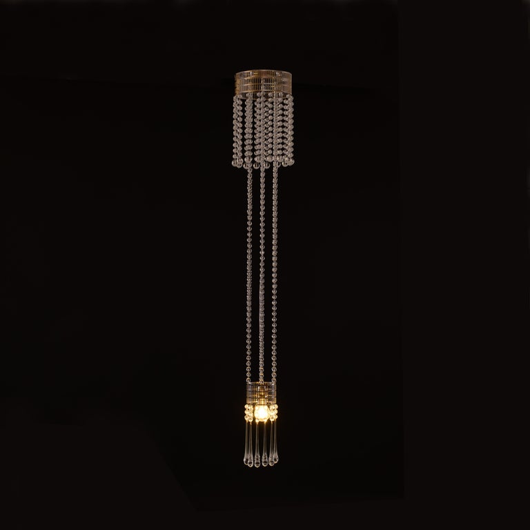 Koloman Moser Crystal Glass and Brass Jugendstil Ceiling Lamp, Re-Edition In New Condition For Sale In Vienna, AT