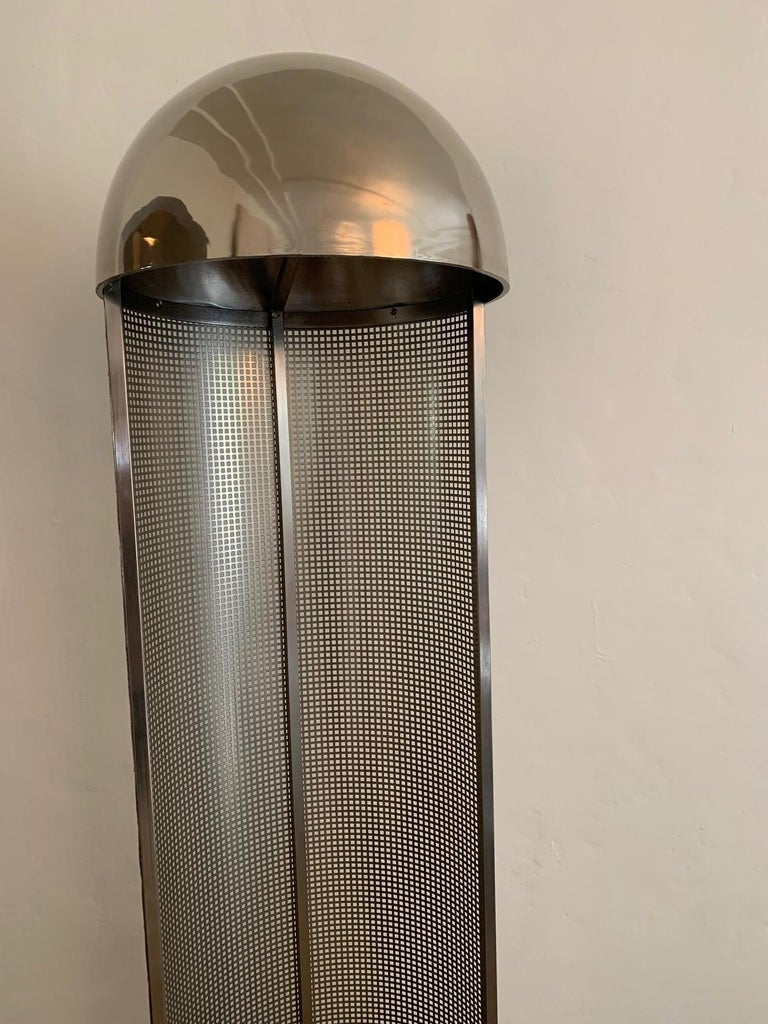 Original design from the early period of the Wiener Werkstatte, circa 1903. This is a later reissue, circa 1980. Nickel finish. Dome over two medium base sockets. Perforated sheet metal creates nice play of light and shadow.