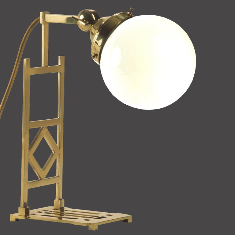 A beautiful and well balaced lamp, which can be used as a wall lamp as well as a table lamp. Please compare the Ornament with that on the furniture-keys of the Wiener Werkstatte.