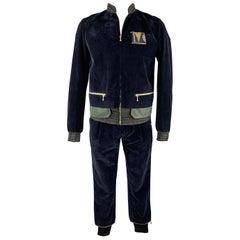 KOLOR Size L Navy Mixed Fabrics Velvet Zip Up Track Suit