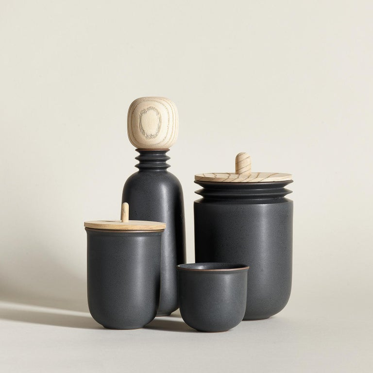 Contemporary Kombu, Teacups, Set of 6, Slip Cast Ceramic, N/O Service Collection For Sale