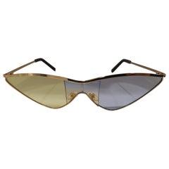Kommafa light blue yellow lens gold sunglasses