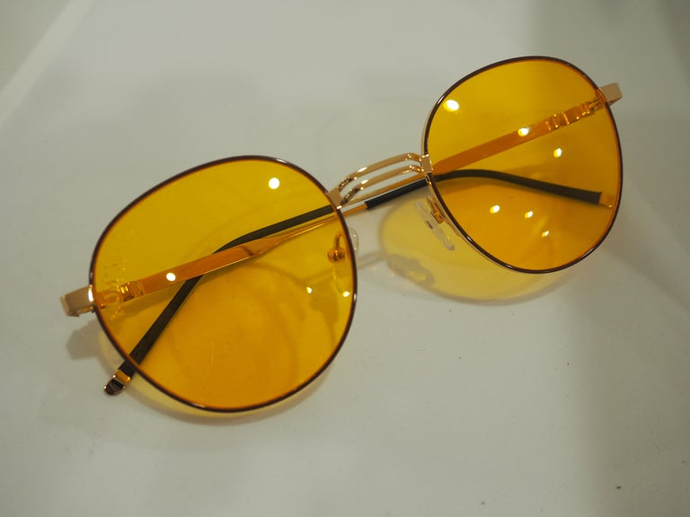 Kommafa orange sunglasses In New Condition For Sale In Capri, IT