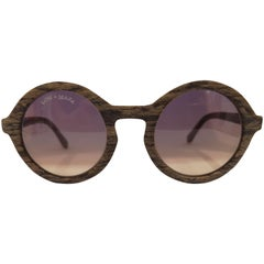 Kommafa purple yellow lens wood sunglasses