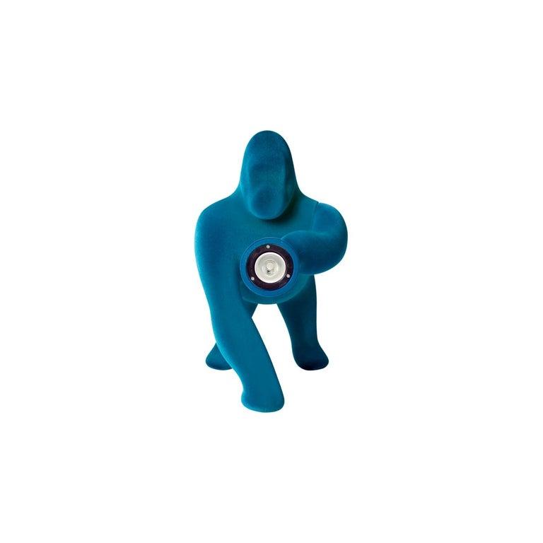 Kong XS, Gorilla Turquoise Blue Velvet Table Lamp by Stefano Giovannoni For Sale 1