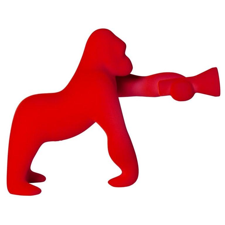 In Stock in Los Angeles, Kong XS, Gorilla Red Velvet Table Lamp For Sale