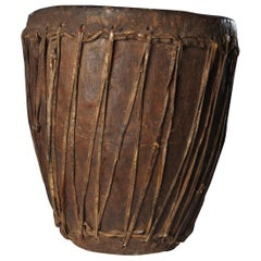 Kongo People, DRC, Hand Carved Authentic Drum