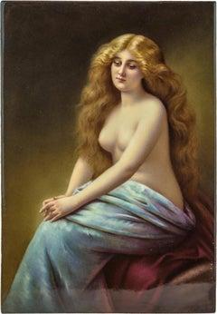 A Fine KPM Plaque of a Semi Nude Beautiful Woman Sitting