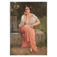 Berlin K.P.M. Portrait Porcelain Plaque of A Pensive Beauty