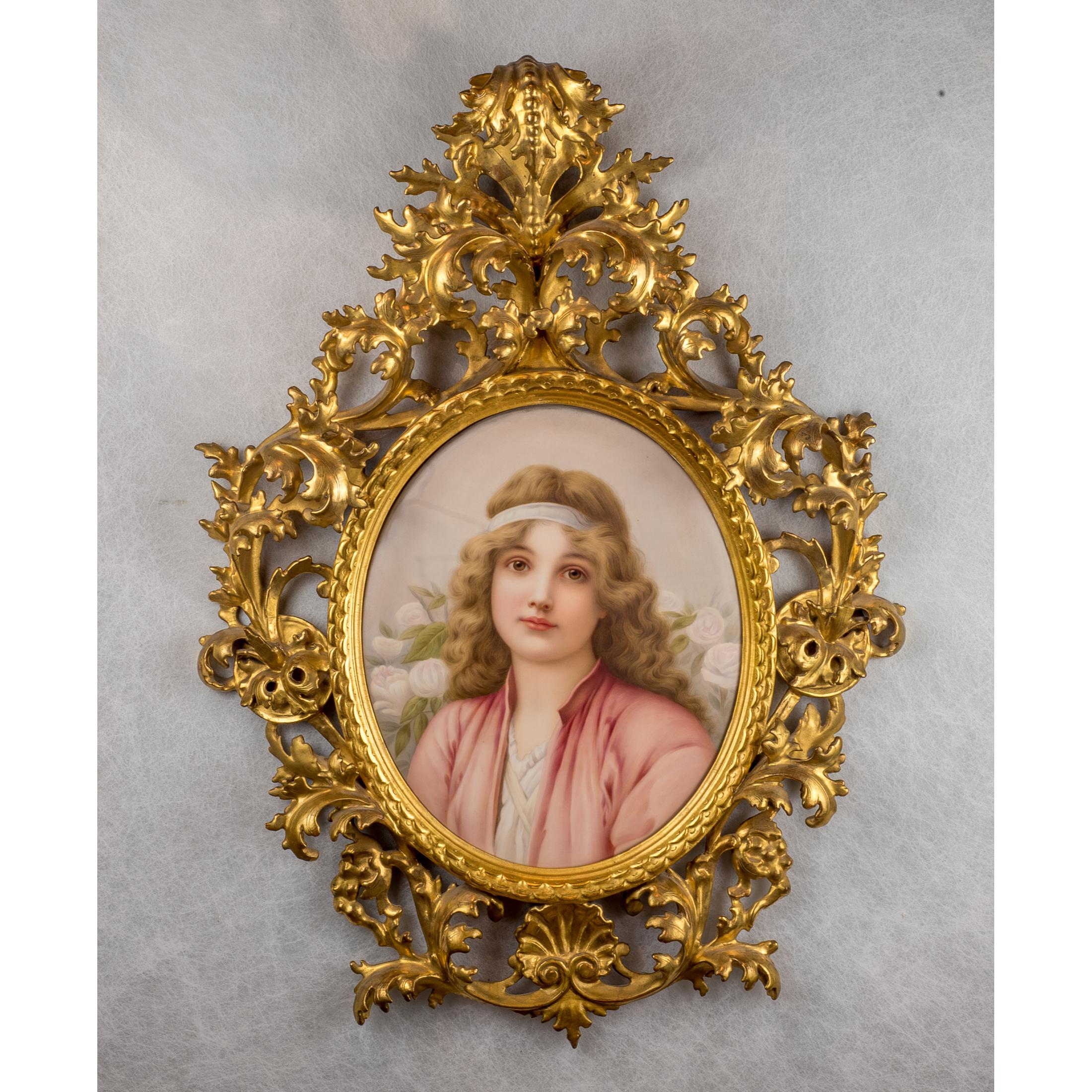 Fine Quality KPM Porcelain Plaque of Beautiful Young Maiden